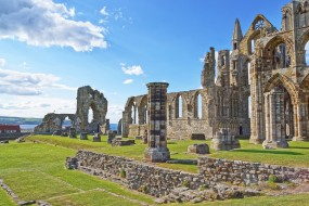 Ruined Entrance to Whitby Abbey in North Yorkshire in England. It is ruins of the Benedictine abbey. Now it is under protection of the English Heritage.