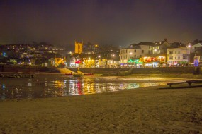 Light reflections on wet sand - St Ives Harbour