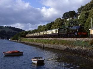 Steam Train on Dart Valley Railway at Kingswear, Devon, England